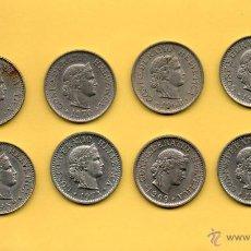 Monedas antiguas de Europa: MM. LOTE 8 MONEDAS DE 10 CENTIMOS FRANCO SUIZO. SUIZA. CONFEDERACION HELVETICA. HELVETIA. VER FOTOS. Lote 48588857