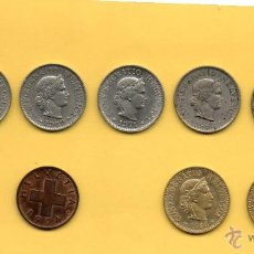 Monedas antiguas de Europa: MM. LOTE 10 MONEDAS HELVETIA. CONFEDERACION HELVETICA. SUIZA. 5 Y 1 CENTIMOS FRANCO SUIZO. VER FOTOS. Lote 48589005