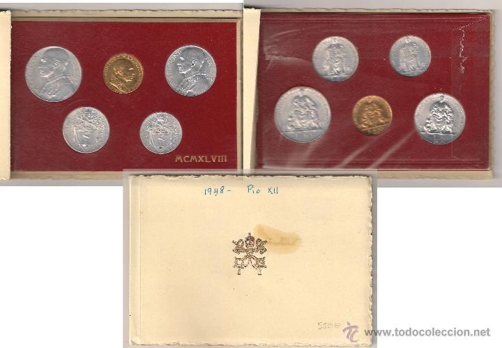 VATICANO CARTERA ORIGINAL DE PIO XII 1948 MONEDAS DE 1, 2, 5, 10 (ALUMINIO) Y 100 (ORO) LIRAS. (PA1) (Numismática - Extranjeras - Europa)