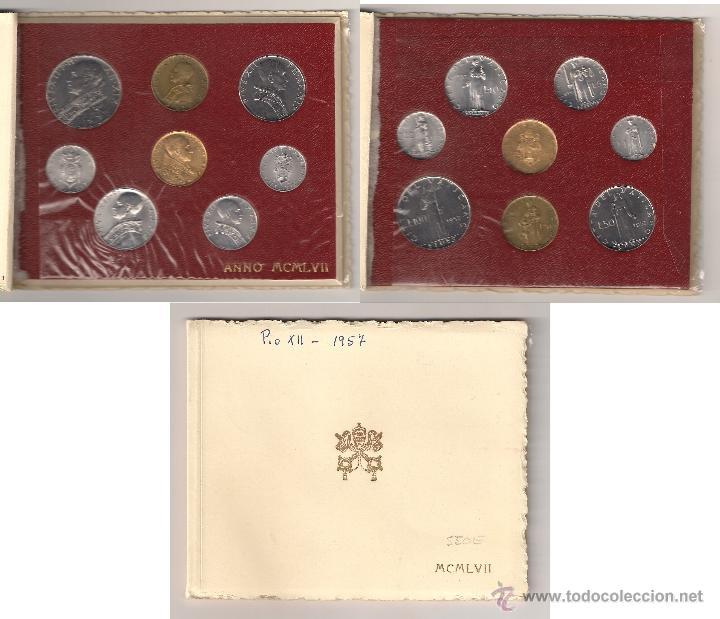 VATICANO DE PIO XII 1957 MONEDAS DE 1, 2, 5, 10, 20, 50 Y 100 (VARIOS METALES) 100 (ORO) LIRAS (PA4) (Numismática - Extranjeras - Europa)
