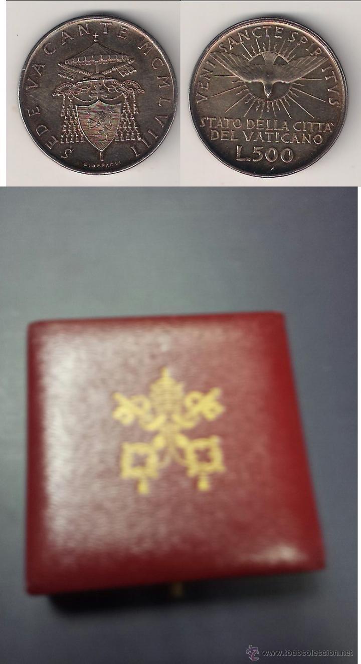VATICANO ESTUCHE ORIGINAL SEDE VACANTE 500 LIRAS DE 1958. PRECIOSA PÁTINA. PLATA. SIN CIRCULAR (PA7) (Numismática - Extranjeras - Europa)