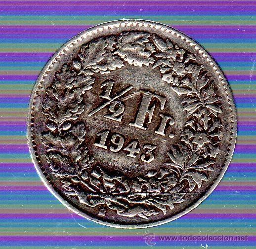 SUIZA. 1/2 FRANCO. 1943 (Numismática - Extranjeras - Europa)