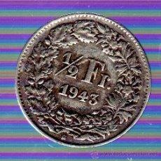 Monedas antiguas de Europa: SUIZA. 1/2 FRANCO. 1943. Lote 49280121