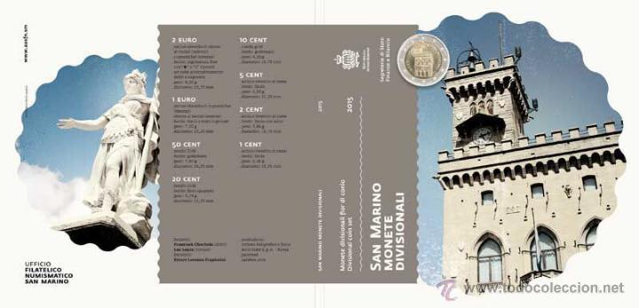 SET OFICIAL EUROS SAN MARINO 2015 FDC - SERIE DIVISIONALE FIOR DI CONIO 2015 *NUMISBUR* (Numismática - Extranjeras - Europa)