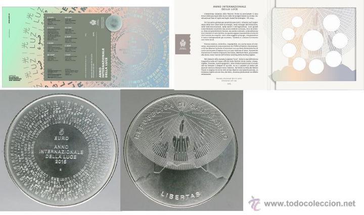 SAN MARINO 2015 FDC + 5 € AÑO INTERNACIONAL DE LA LUZ TOTAL 9 VALORES (Numismática - Extranjeras - Europa)