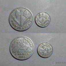 Monedas antiguas de Europa: MONEDAS DE LA 2ª GUERRA MUNDIAL, FRANCIA DE VICHY 50 CENTIMOS Y 2 FRANCOS 1942 Y 1943. Lote 50654639