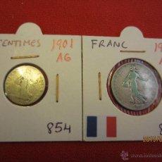 Monedas antiguas de Europa: FRANCIA - 50 CENTIMES , FRANC 1901 PLATA MBC. Lote 51237402