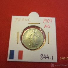 Monedas antiguas de Europa: FRANCIA - FRANC 1901 KM844.1 PLATA MBC. Lote 51237437