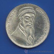 Monedas antiguas de Europa: ALEMANIA 5 MARCOS (5 DM) PLATA 1968 G JOHANNES GUTENBERG. Lote 51376106