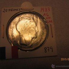 Monete antiche di Europa: FRANCIA - 20 FRANCS 1933 KM879 PLATA MBC. Lote 51497162