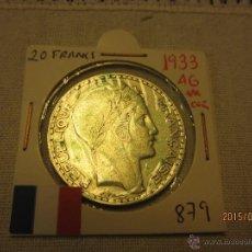 Monete antiche di Europa: FRANCIA - 20 FRANCS 1933 KM879 PLATA MBC. Lote 51497200
