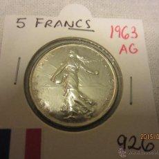 Monedas antiguas de Europa: FRANCIA - 5 FRANCS 1963 KM926 PLATA SC. Lote 51500094