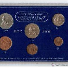 Monedas antiguas de Europa: GRAN BRETAÑA - BRITAINS FIRST COMPLETE SET OF DECIMAL COINS 1977. Lote 51567668