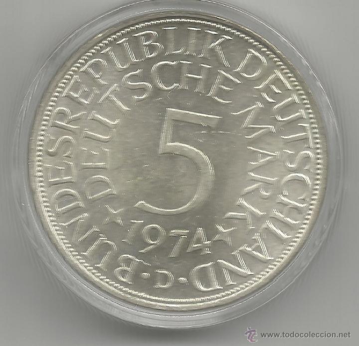 ALEMANIA - 5 MARCOS 1974 D - PLATA CON CERTIFICADO DE AUTENTICIDAD Y ENCAPSULADA (Numismática - Extranjeras - Europa)