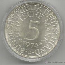 Monedas antiguas de Europa: ALEMANIA - 5 MARCOS 1974 D - PLATA CON CERTIFICADO DE AUTENTICIDAD Y ENCAPSULADA. Lote 51612410