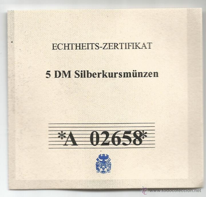 Monedas antiguas de Europa: ALEMANIA - 5 MARCOS 1974 D - PLATA CON CERTIFICADO DE AUTENTICIDAD Y ENCAPSULADA - Foto 2 - 51612410