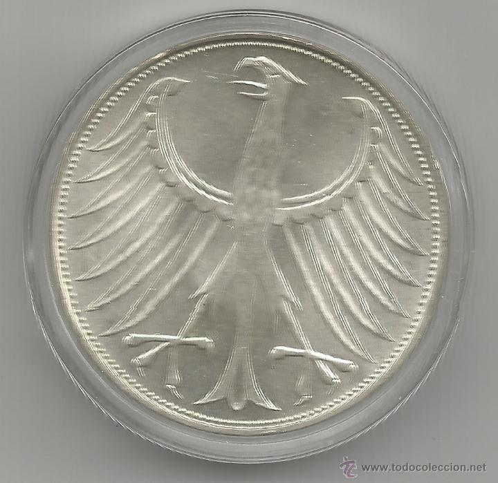 Monedas antiguas de Europa: ALEMANIA - 5 MARCOS 1974 D - PLATA CON CERTIFICADO DE AUTENTICIDAD Y ENCAPSULADA - Foto 3 - 51612410