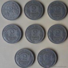 Monedas antiguas de Europa: OCHO MONEDAS DE 2 FRANCOS FRANCESES. CON AÑOS DIFERENTES. Lote 50803891