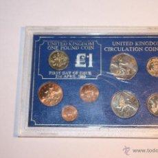 Monedas antiguas de Europa: REINO UNIDO ESTUCHE CON 8 MONEDAS 1ER DIA CIRCULACION 1983. Lote 51648465