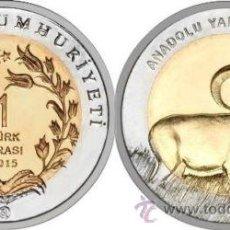Monedas antiguas de Europa: TURQUIA 1LIRA TURCA 2015 BIMETALICA MOUFLÓN ARMENIO TURKEY TURKIA CABRA SALVAJE. Lote 195065170