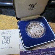 Monedas antiguas de Europa: MONEDA PLATA ALDERNEY 2 POUNDS 1993 PIEDFORT 2 ONZAS 56,56 GRM. Lote 52285106