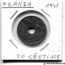 Monedas antiguas de Europa: MONEDA FRANCIA SEGUNDA GUERRA MUNDIAL DE ZINC AÑO 1941 20 CENTIMOS RARA. Lote 53546469