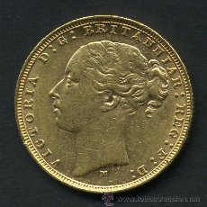 Monedas antiguas de Europa: MONEDA DE ORO , 1 UNA LIBRA INGLATERRA , REINA VICTORIA 1879 , EBC , ORIGINAL, M1159. Lote 54016475