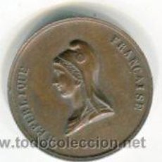Monedas antiguas de Europa: MEDALLA DE BRONCE II REPUBLICA FRANCIA FÉTE DU CHAMP AÑO 1848 3 CMS DIAMETRO APROX.. Lote 54042458