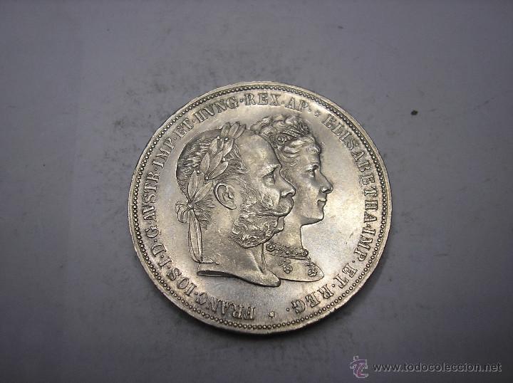 Monedas antiguas de Europa: AUSTRIA, 2 FLORINES DE PLATA DE 1879. BODAS DE ORO DE LOS REYES - Foto 2 - 55036600