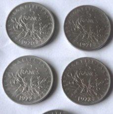 Monedas antiguas de Europa: CINCO MONEDAS DE 5 FRANCOS FRANCESES. CON AÑOS DIFERENTES. Lote 55908348