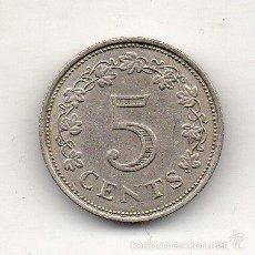 Monedas antiguas de Europa: MALTA. 5 CÉNTIMOS. AÑO 1972.. Lote 55925835