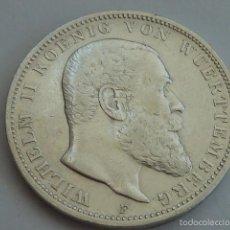Monedas antiguas de Europa: MONEDA DE PLATA DE 3 MARCOS DE ALEMANIA WURTEMBER DE 1909, GUILLERMO II. Lote 56933384