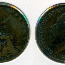 Monedas antiguas de Europa: GRAN BRETAÑA - INGLATERRA - ONE PENNY / 1 PENIQUE 1917 ( BC ) - GEORGE V. Lote 57101660