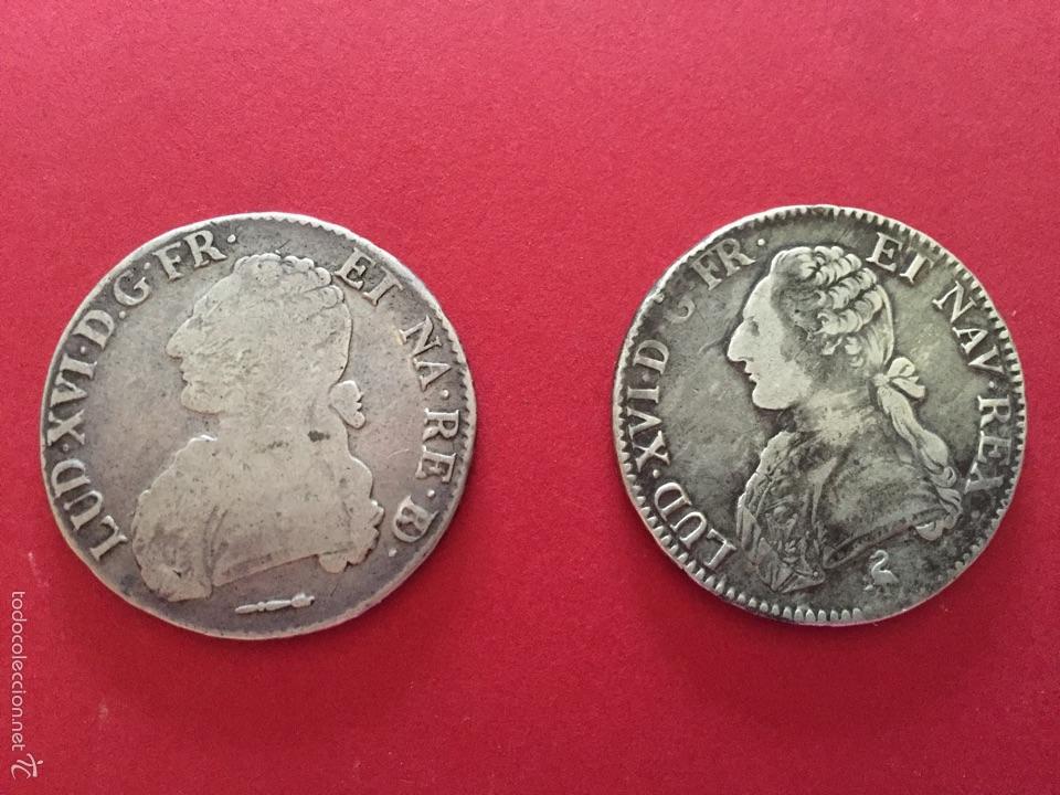 MONEDAS DE PLATA FRANCESA DE LOUIS XVI - ECU AUX BRANCHES D'OLIVIER 1784 PAU Y 1791 (Numismática - Extranjeras - Europa)