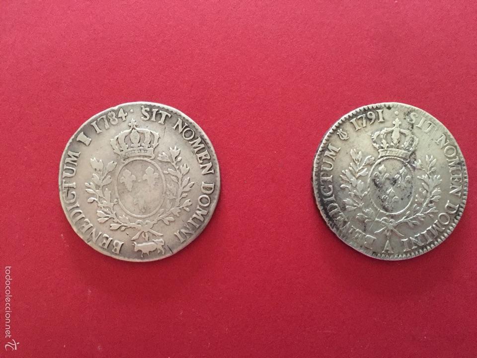 Monedas antiguas de Europa: Monedas de plata francesa de Louis XVI - ECU AUX BRANCHES DOLIVIER 1784 PAU Y 1791 - Foto 2 - 57108808