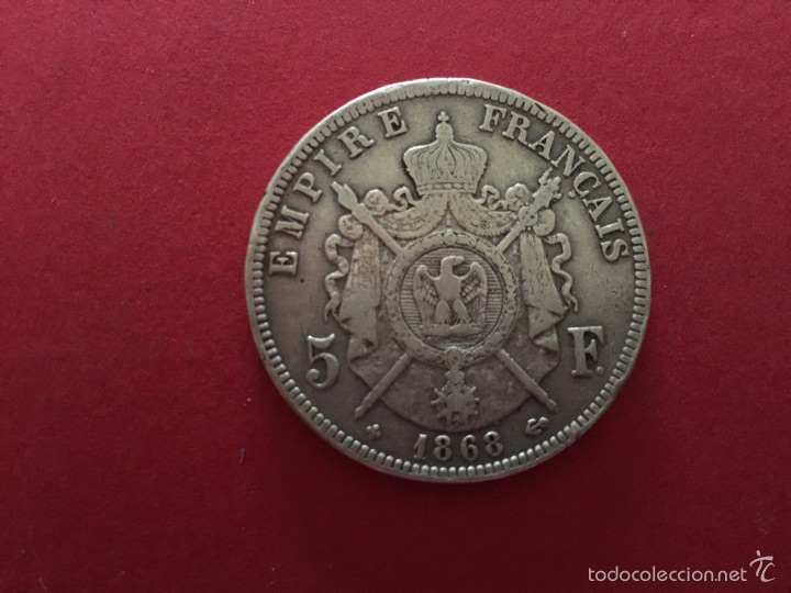 Monedas antiguas de Europa: 5 francos de plata francesa de Napoleón III 1868 - Foto 2 - 57109849