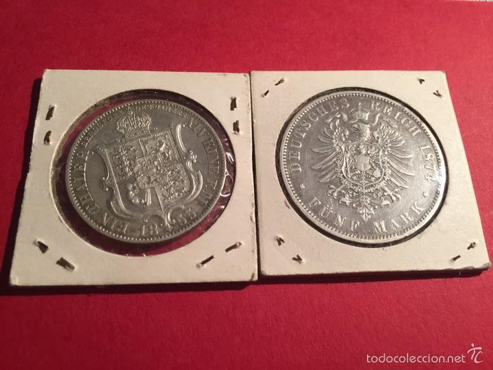 Monedas antiguas de Europa: 2 monedas alemanas de plata de 1855 y 1974 - Foto 2 - 57111572