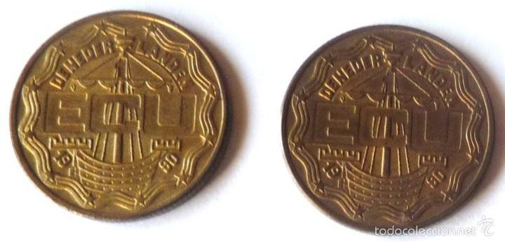 DOS MONEDAS DIFERENTES DE 1 ECU DE HOLANDA DE 1990 (Numismática - Extranjeras - Europa)