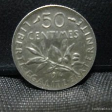 Monedas antiguas de Europa: 50 CENTIMOS 1916 FRANCIA PLATA. Lote 57660924