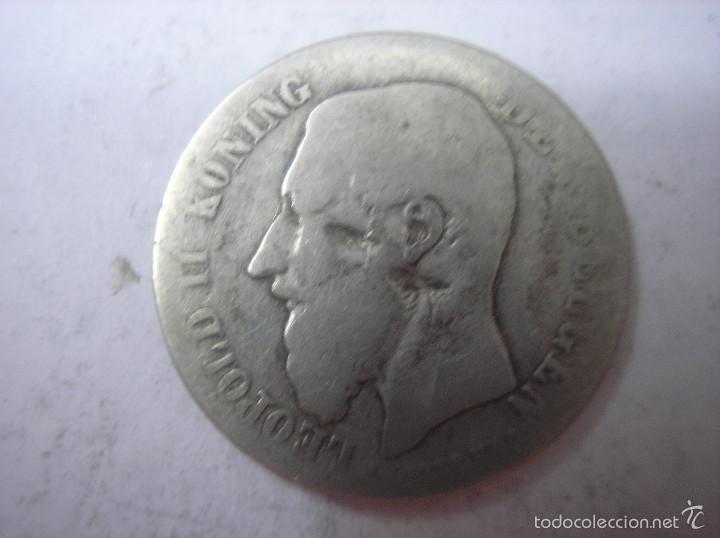 Monedas antiguas de Europa: BELGICA, 50 CENTIMOS DE PLATA DE 19--. REY LEOPOLDO II - Foto 2 - 57667992