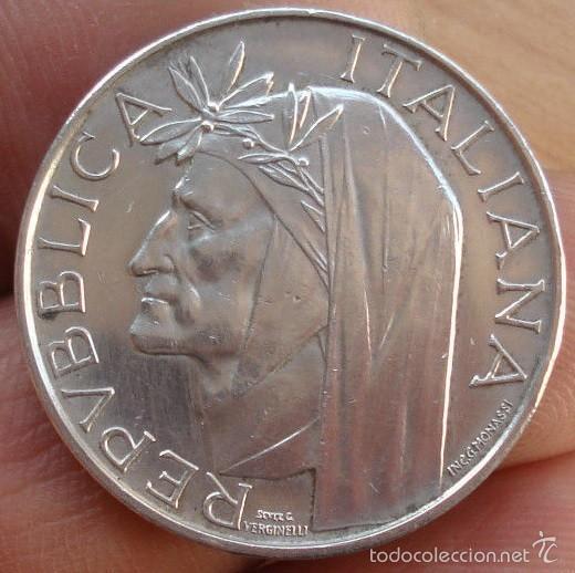 500 LIRAS DE PLATA ITALIA 700 ANIVERSARIO DE DANTE AÑO 1965 MUY CORRECTA (Numismática - Extranjeras - Europa)