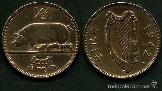 IRLANDA 1/2 PENNY AÑO 1942 ( CERDA CON SUS CERDITOS Y POR EL REVERSO UN ARPA ) Nº2 (Numismática - Extranjeras - Europa)
