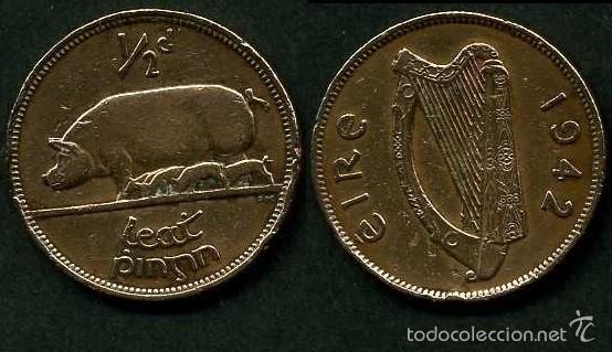IRLANDA 1/2 PENNY AÑO 1942 ( CERDA CON SUS CERDITOS Y POR EL REVERSO UN ARPA ) Nº7 (Numismática - Extranjeras - Europa)
