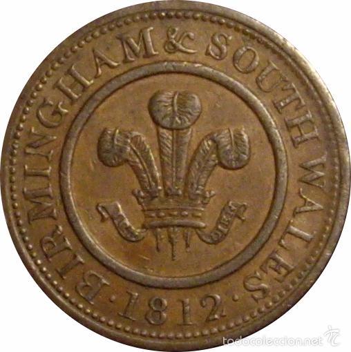 Monedas antiguas de Europa: INGLATERRA. 1 PENNY TOKEN. 1.812. BIRMINGHAM & SOUTH WALES - Foto 2 - 39762021