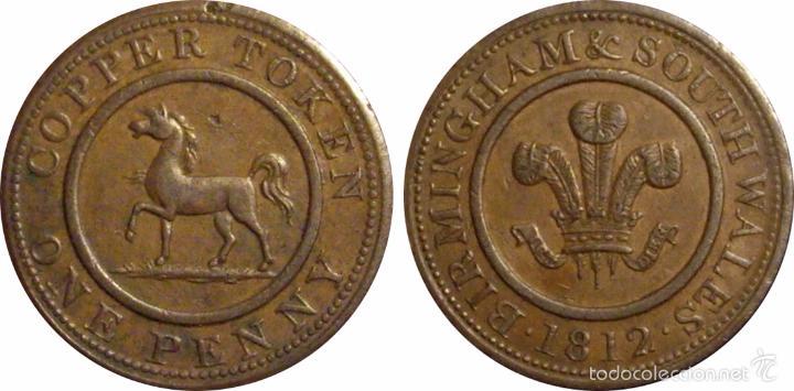 Monedas antiguas de Europa: INGLATERRA. 1 PENNY TOKEN. 1.812. BIRMINGHAM & SOUTH WALES - Foto 3 - 39762021