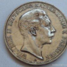 Monedas antiguas de Europa: MONEDA DE PLATA DE 3 MARCOS DE 1909 ALEMANIA IMPERIO PRUSIA, KAISER GUILLERMO II. Lote 59843632