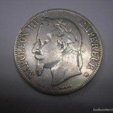 Monedas antiguas de Europa: 5 FRANCOS DE PLATA DE 1868 BB. EMPERADOR DE FRANCIA NAPOLEÓN III. Lote 60068555
