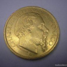 Monedas antiguas de Europa: MONACO, 100 FRANCOS DE ORO DE 1884. PRINCIPE CARLOS III. Lote 60250615