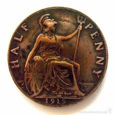 Monedas antiguas de Europa: MONEDAS DEL MUNDO . INGLATERRA . GEORGIUS V . HALF PENNY 1919 . MBC. Lote 60267247