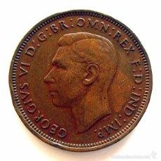 Monedas antiguas de Europa: MONEDAS DEL MUNDO . INGLATERRA . GEORGIUS VI . HALF PENNY 1943 . MBC. Lote 60268127